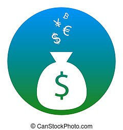 Money bag sign with currency symbols. Vector. White icon in bluish circle on white background. Isolated.