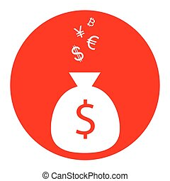 Money bag sign with currency symbols. Vector. White icon in red circle on white background. Isolated.