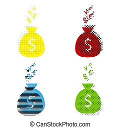 Money bag sign with currency symbols. Vector. Yellow, red, blue,