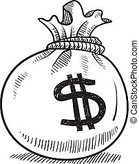 Doodle style money bag finance and business vector illustration