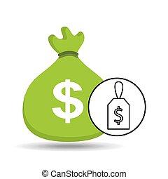 money bag sticker icon graphic