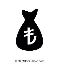 Money bag Turkish lira vector icon