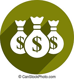 Money bag vector icon isolated.