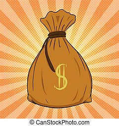 Money bag vector on halftone background.