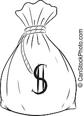 Money bag vector on white background.