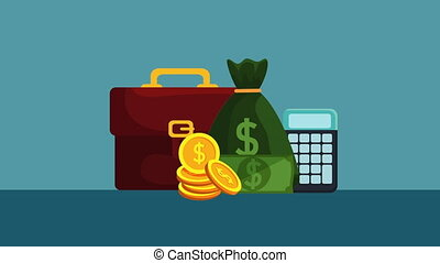 money bag with coins dollars ,hd video animation