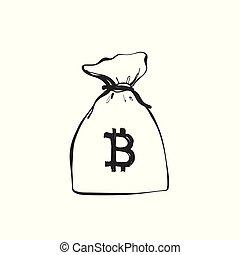 Money bag with currencies symbols. Bitcoin. Hand drawn vector illustration.