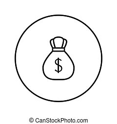 Money Bag with Dollar. Icon. Vector.