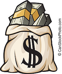 Money bag with dollar sign vector illustration (money bag filled dollars)