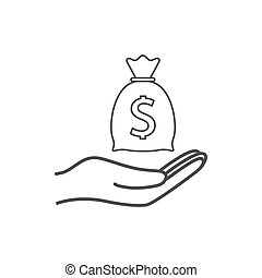 Money bag with hand icon. Vector illustration, flat design....