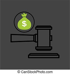 money bag with judge gavel icon design