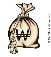 Money Bag with South Korea Won Symbol