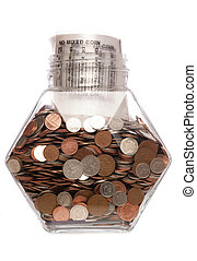 Money bag with sterling coins in a jar studio cutout