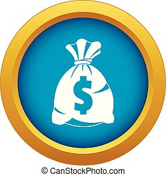 Money bag with US dollar sign icon blue vector isolated