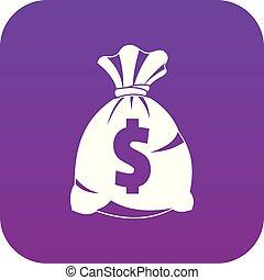 Money bag with US dollar sign icon digital purple