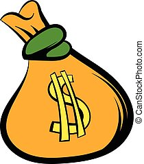 Money bag with US dollar sign icon, icon cartoon