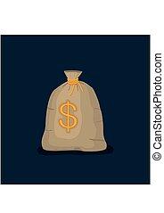 Money bag with US dollar sign isolated on dark blue background. full sack icon flat cartoon style vector illustration