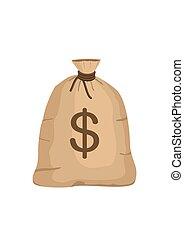 Money bag with US dollar sign isolated on white background. full sack icon flat cartoon style vector illustration