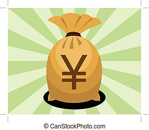 money bag with yen sign