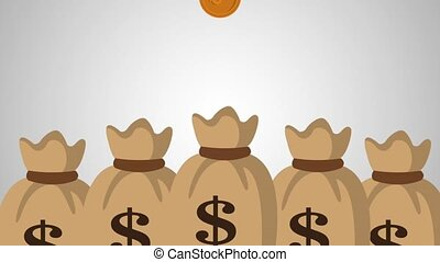 Money bags and coins HD animation - Money bags over coins...
