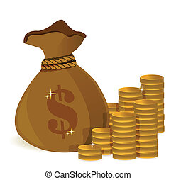 money bags and gold coins illustration design over white