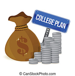 money bags college plan sign illustration design over white