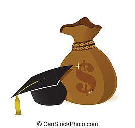 money bags education hat sign