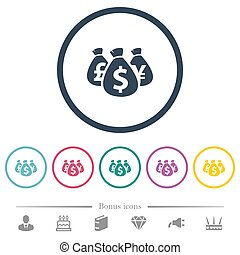 Money bags flat color icons in round outlines
