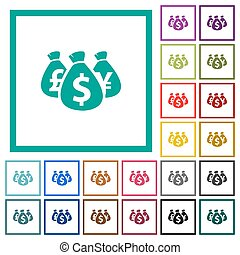 Money bags flat color icons with quadrant frames