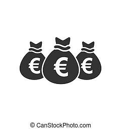 Money bags icon flat
