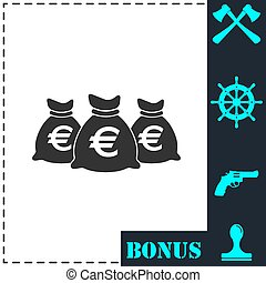Money bags icon flat