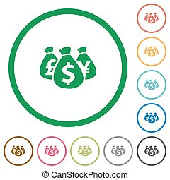 Money bags outlined flat icons