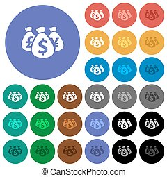 Money bags round flat multi colored icons