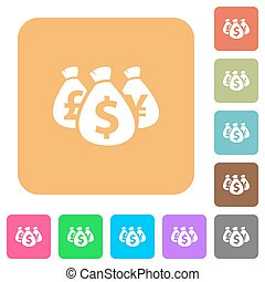Money bags rounded square flat icons