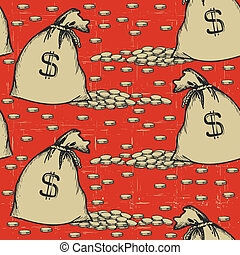 money bags seamless pattern. Vintage background with coins