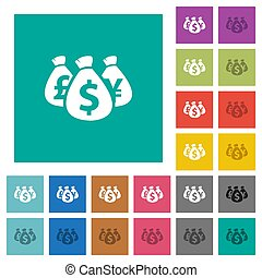 Money bags square flat multi colored icons