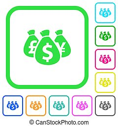 Money bags vivid colored flat icons