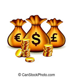 Money bags with currency signs isolated vector