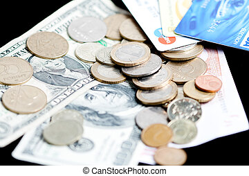 Money - bank notes, coins and credit cards