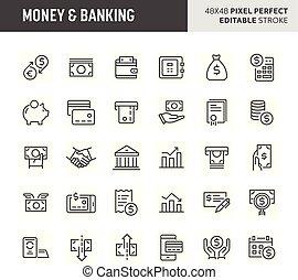 Money & Banking Vector Icon Set