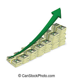 Money banknotes stacks rising graph with upward arrow vector illustration