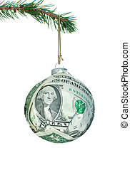 Money bauble - Christmas bauble made of dollar banknotes ...