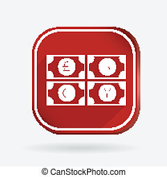 money bill. Color square icon