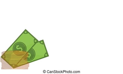 Money bills and coins on corner HD animation - Money billets...