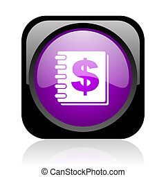 money black and violet square web glossy icon
