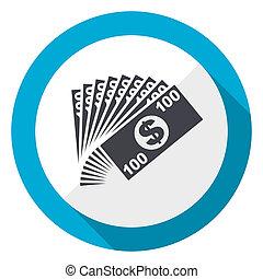 Money blue flat design web icon