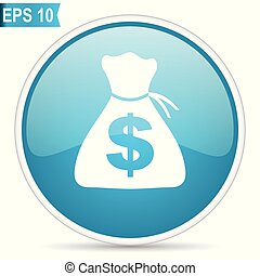 Money blue glossy round vector icon in eps 10. Editable modern design internet button on white background.