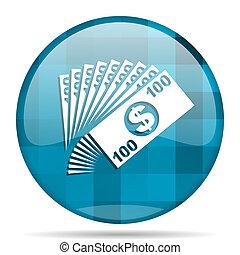 money blue round modern design internet icon on white background