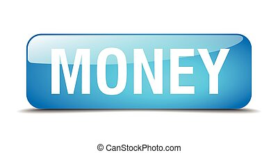 money blue square 3d realistic isolated web button