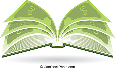 Illustration of an open book with dollar pages